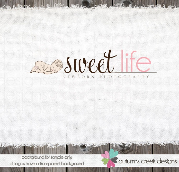 On sale photography logo design newborn photography shop photography logo design ooak hand drawn