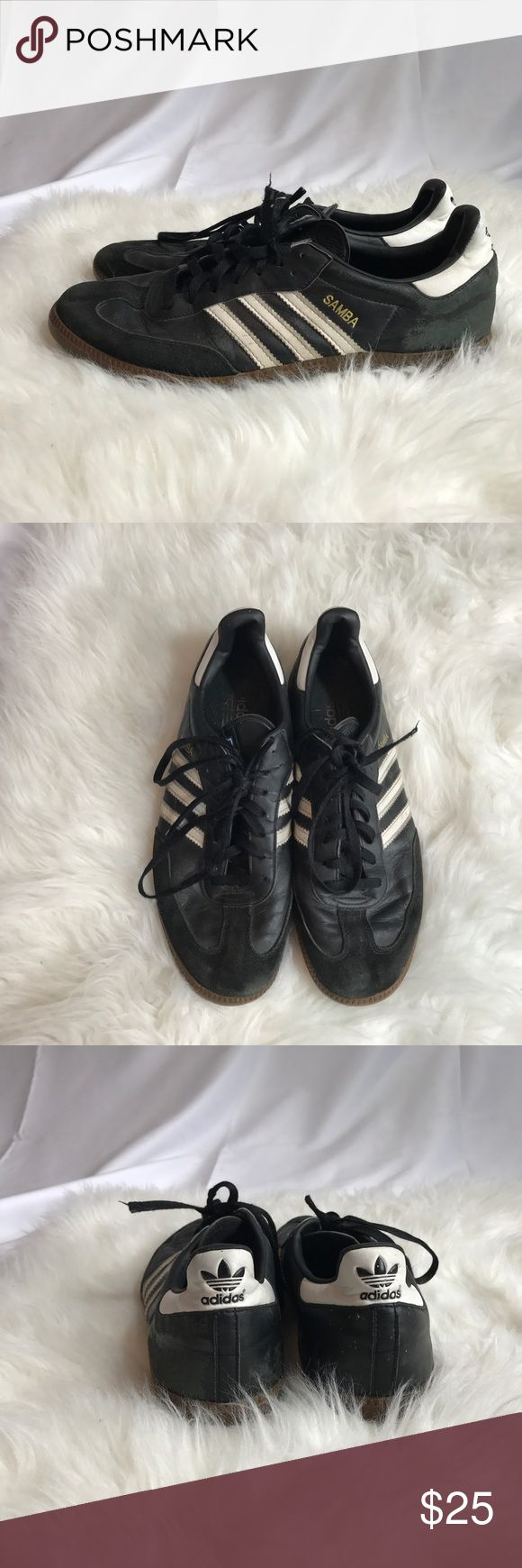 Adidas Samba size US 11,5 Old school style adidas Samba have gained popularity of comfort and stylish shoes since early 90's with mix of Suede and leather. These are worn as shown on last pictures, overall still in good condition. Adidas Shoes Sneakers