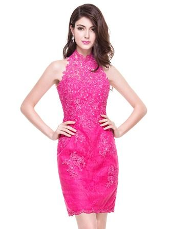 Sheath/Column High Neck Short/Mini Tulle Lace Cocktail Dress With Beading Sequins http://bit.ly/1e4q9ID