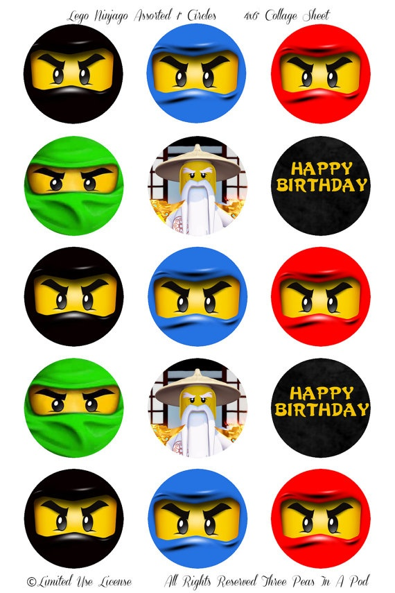 Instant Download Lego Ninjago Assorted Ninjas Printable 1 Inch Cupcake Toppers. $2.00, via Etsy.
