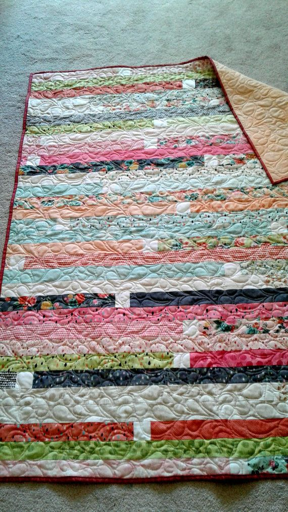 Patchwork Quilts for Sale - Jelly Roll Strip - Patchwork Quilts - Pastels Lap…