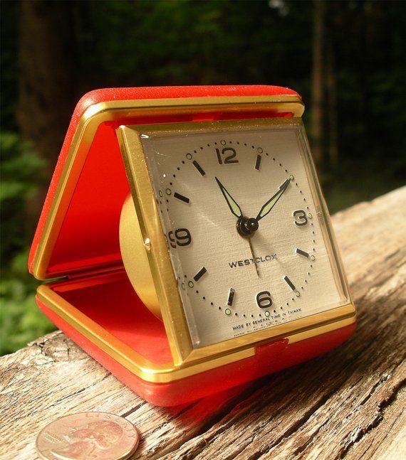 Vintage Westclox Travel Alarm Clock Red Wind Up Time Piece