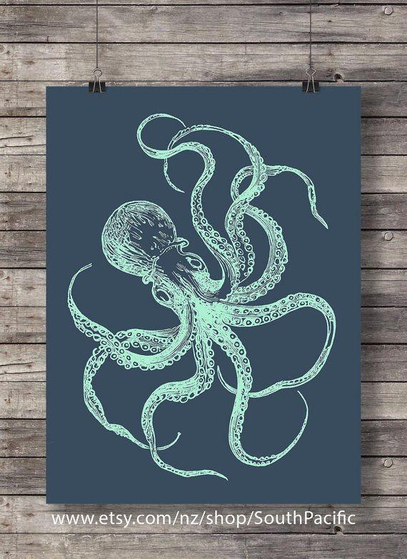 Nautical octopus print | Blueprint octopus | Navy and mint nautical art print…