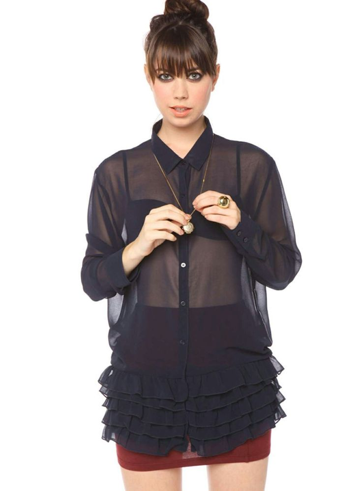 Midnight Frills Shirt. Fab oversized sheer navy button-down with a tiered ruffle bottom. Perfect paired with a black lace bra and body-con skirt! By Cheap Monday.  Available at AUDTT.com.au #buyme #shopmywardrobe #forsale #designer #consignment
