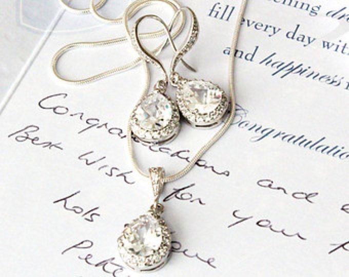 Sistema de la joyería nupcial boda joyería conjunto de Dama de honor regalo Set lágrima Circonita colgante pendientes de cristal y los conjunto de