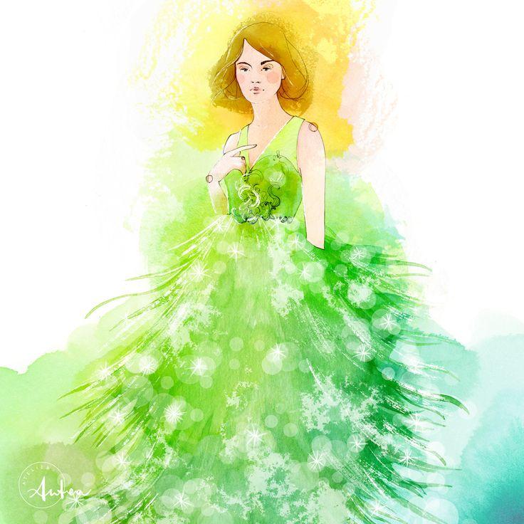 Marchesa Notte Christmas Tree fashion illustration by Camilla Locatelli