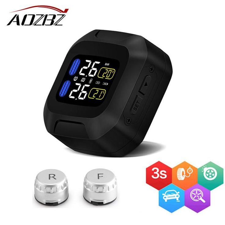 AOZBZ Motorcycle Wireless Tire Pressure Alarm Monitor System TPMS LCD Display Motor 2 External Sensor Temperature Alarm NEW