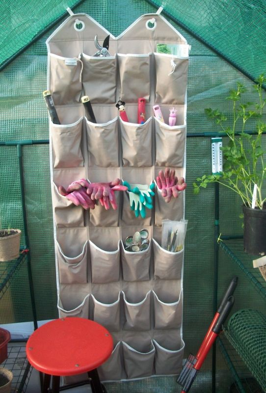 Reuse an old shoe organizer to store small gardening tools & accessories. No more lost tools! Back of shed door?