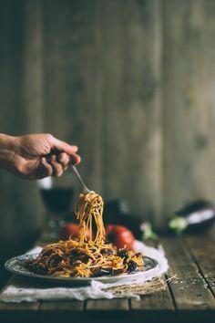 Pasta Alla Norma (eggplant and tomato spaghetti)