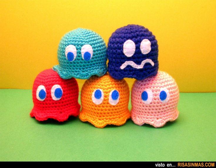 Amigurumis de los fantasmas de Pac-Man.