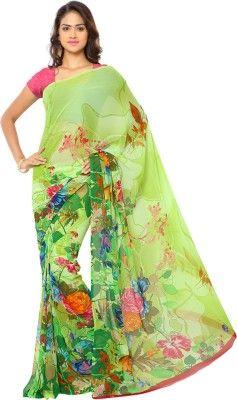 0280652cb6d Ligalz Printed Daily Wear Chiffon Saree(Green)