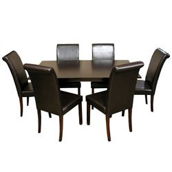 @Overstock.com - Warehouse of Tiffany 7-piece Black Dining Furniture Set - This stylish and modern black dining room furniture is perfect for eating and entertaining in the home. The table and chairs are made of durable oak and match many styles of decor. The chairs have high backs and bi-cast leather upholstery for comfort.  http://www.overstock.com/Home-Garden/Warehouse-of-Tiffany-7-piece-Black-Dining-Furniture-Set/5617503/product.html?CID=214117 $639.99