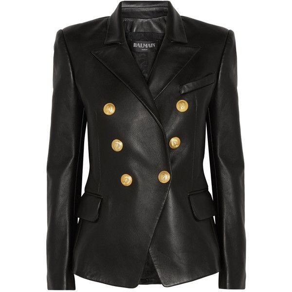 Balmain Black Leather Peaked Lapel Tailored Blazer Jacket (14,635 AED) ❤ liked on Polyvore featuring outerwear, jackets, blazers, black, genuine leather jackets, shiny leather jacket, balmain blazer, double breasted jacket and peak lapel blazer