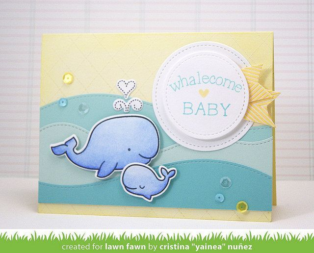 "Lawn Fawn Whale You Be Mine card by Cristina ""Yainea"" Nuñez."