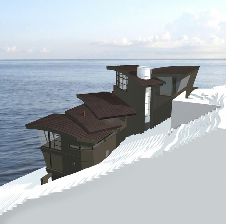 Lake tahoe cliff house by mark dziewulski architect render for Tahoe architects