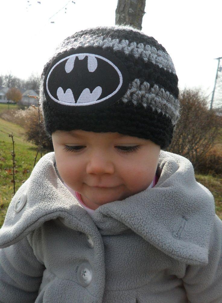 Handmade Baby Batman Crochet hat.