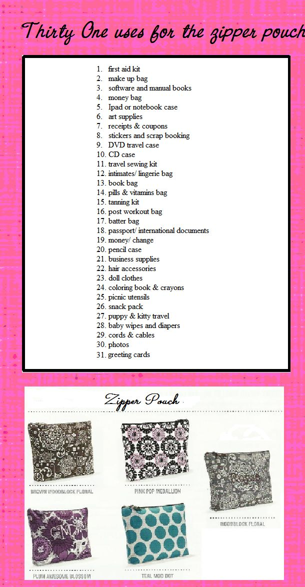 Thirty One uses for a zipper pouch- I know what I'll be ordering ;-) To get yours contact me to order or visit my website:  www.mythirtyone.com/346375
