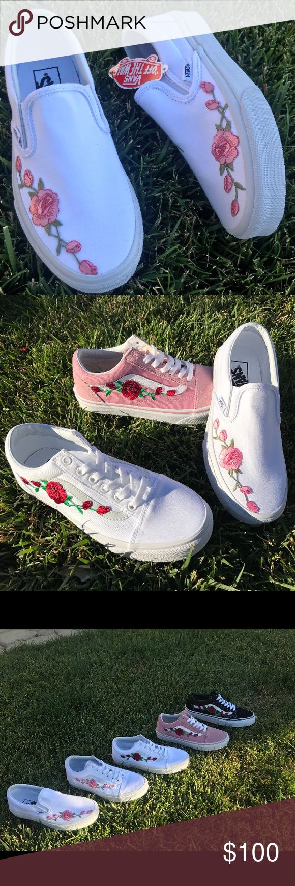 embroidered vans vans in all colors and sizes! embroidered with pink or red roses.  1. select size and color vans 2. select cherry blossom or roses  another option: send in your already used vans and i could custom them for $20 Vans Shoes Sneakers