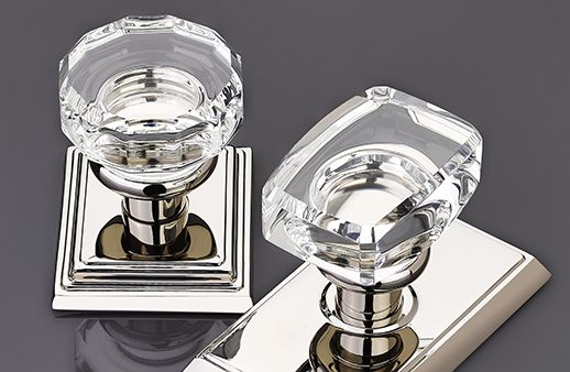 Crystal Door Knobs by Emtek Products l Coastal Staircases & Doors l www.DreamBuildersOBX.com
