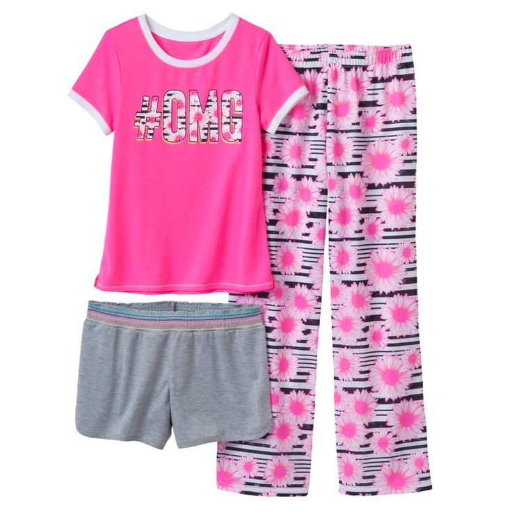3-piece OMG summer pajamas for a tween girl. Includes a t-shirt, a pair of sleep shorts and and a pair of sleep pants.