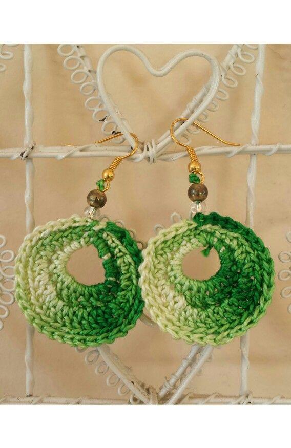green oval crochet earrings