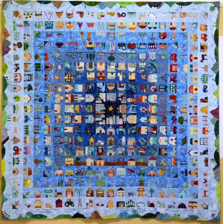 Block of the Day 2016 - That Town and Country Quilt by Gourmet Quilter.  I really like the gradation on the blue background with the night sky in the very middle.  Clever!