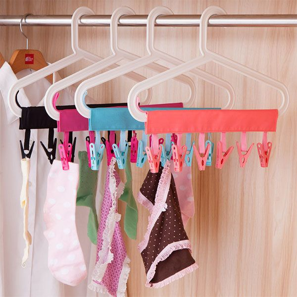Portable Folding Clothes Storage Hanger Rack Creative Cloth Clip Multifunctional Travel Clothespin