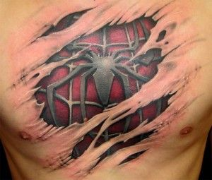 spiderman chest tattoo  - so cool but hell no bro