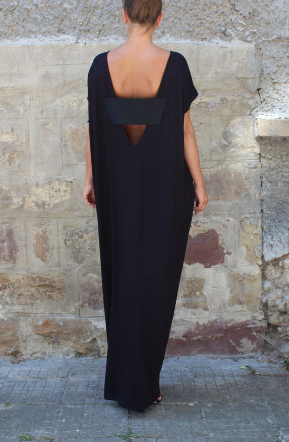 Black Caftan Dress Backless dress Maxi by cherryblossomsdress