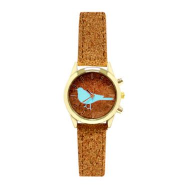 Decree® Ladies Concepts Cork Blue Bird Strap Watch - JCPenney