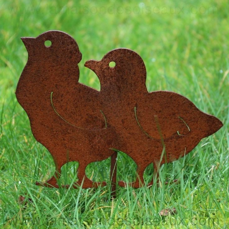 Deco poule poussins silhouette en metal patine rouille for Decoration de jardin animaux
