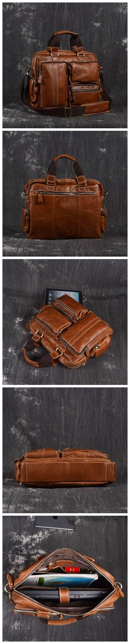 Men Leather Briefcase Travel Bag Leather Laptop with Shoulder Strap