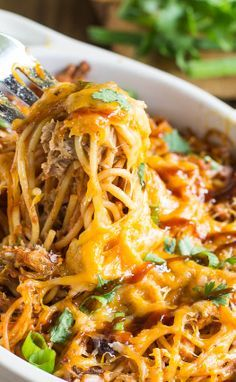 BBQ Spaghetti Casserole with pulled pork. It's like the spaghetti version of BBQ Chicken Pizza.