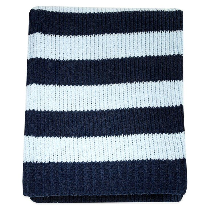 """Navy and Light Blue Stripe Chenille Blanket.  This navy and light blue striped chenille blanket measures 30"""" x 40"""" and made from 100% Polyester Chenille. Perfect for cuddling."""