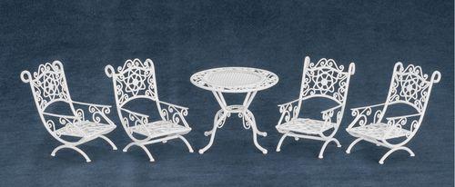 White Wire Patio Furniture Set 5pc | Mary's Dollhouse Miniatures