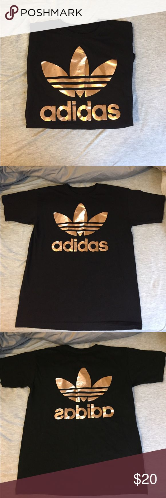 Black and rose gold metallic adidas Original Tee Black cotton adidas T shirt with rose gold metallic adidas original logo on both front and back of t shirt. Size small in women's (high neck line). Very lightly worn and good condition. Adidas Tops Tees - Short Sleeve