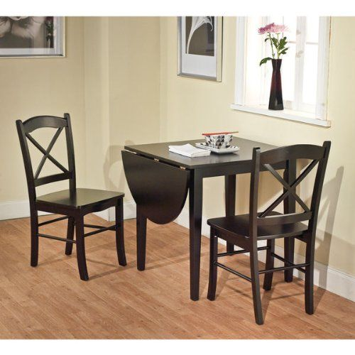 Black 3 piece country cottage dining set table and 2 for Small wood dining table and chairs