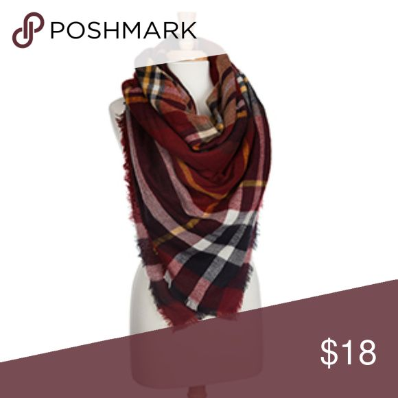 """Maroon, White, Navy, Yellow Tartan Blanket Scarf This gorgeous and soft tartan blanket scarf has wine (maroon), white, navy, and a hint of yellow in the pattern. It is the perfect addition to your fall wardrobe, and the perfect gift for that special someone! It is 100% acrylic, and measures about 58""""x58"""". This scarf can be worn in so many ways! Mackenzi Lane Boutique Accessories Scarves & Wraps"""