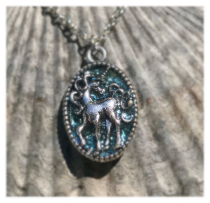 Unicorn Charm Necklace with Aqua sparkled Unicorn Charm made by hand in the USA (the National animal of Scotland)  Fabulous Silver Unicorn charm infilled with sparkley aqua resin giving it a stained glass look.  These are good for adults or kids.  Little girls would love this.  I can make other col
