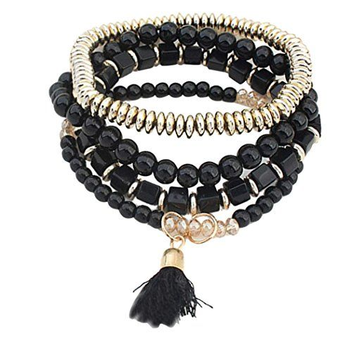 SusenstoneWomen Multilayer Beads Bangle Tassels Bracelets.More info for silver anklets online shopping;gold anklets online shopping;bridal anklets online;indian anklets with bells;stores that sell anklets could be found at the image url.(This is an Amazon affiliate link and I receive a commission for the sales)