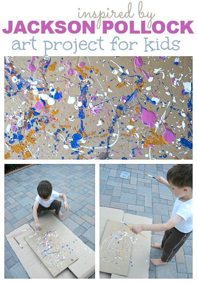 Create a masterpiece in the classroom! Fun and active fine art - Jackson Pollock; click through to the tips for taking young children to a museum.