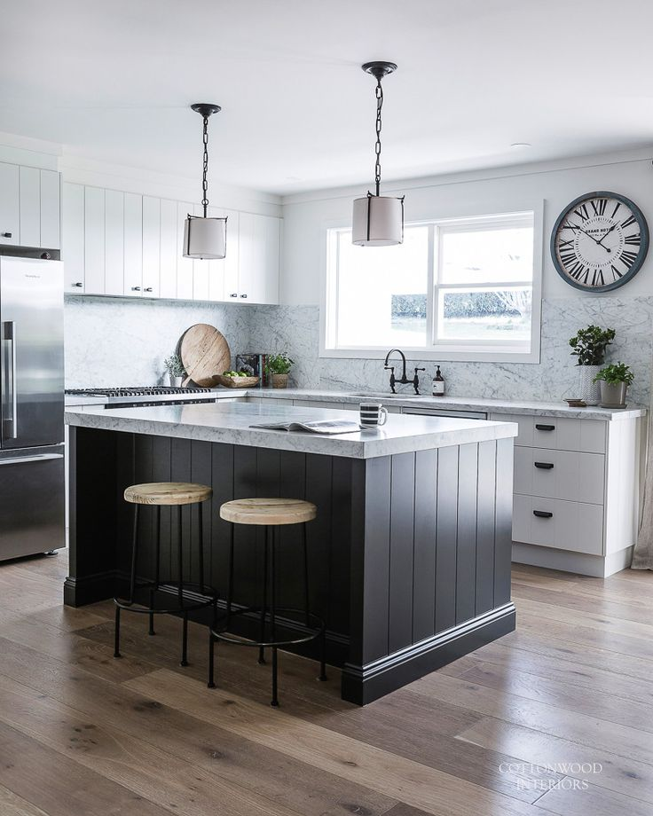 Modern Farmhouse Kitchen. White Cabinetry With Black