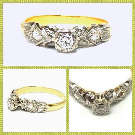 Art Nouveau Old Brilliant Cut Diamonds Engagement 18K White Gold Ring, Hand Assembled,