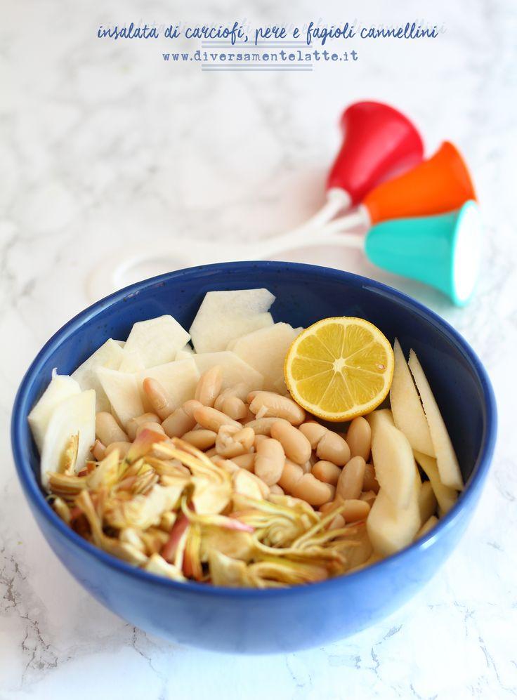 Insalata di carciofi pere e fagioli cannellini   http://www.diversamentelatte.it/insalata-di-carciofi-pere-e-fagioli-cannellini/
