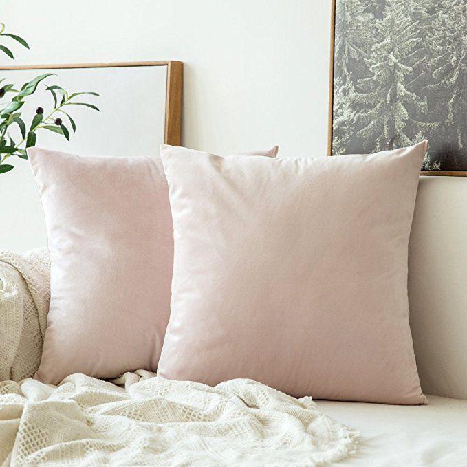 Miulee Pack Of 2 Velvet Soft Soild Decorative Square Throw Pillow