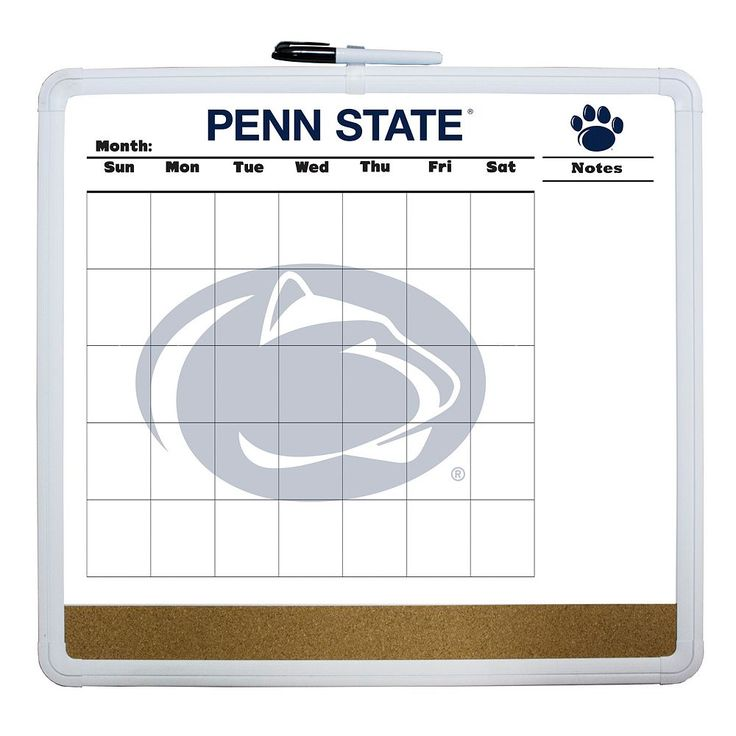 Penn State Nittany Lions Dry Erase Cork Board Calendar, Multicolor