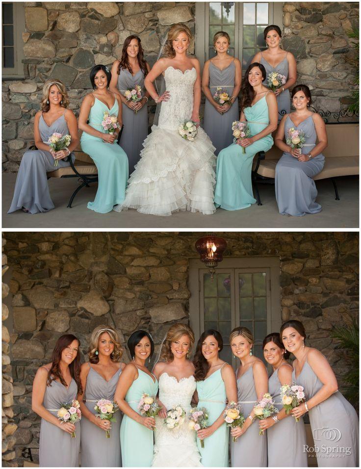 Rob Spring Photography, tiffany blue and grey bridesmaid dresses!