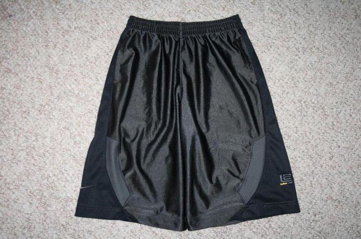 Nike boys athletic shorts large 14-16 polyester gray black Lebron James 23 hoops #Nike #Everyday