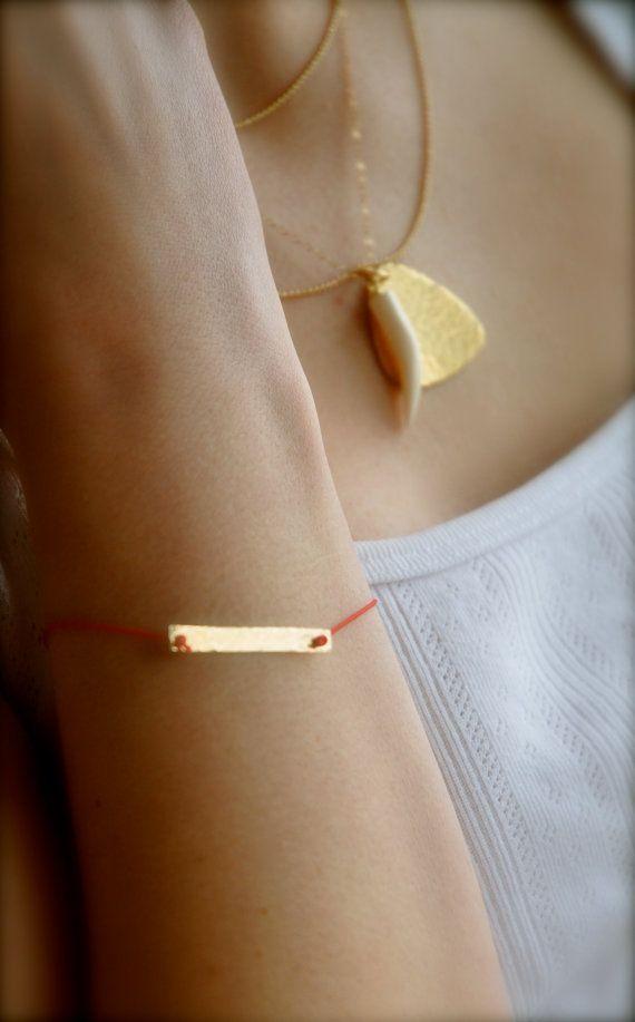 Gold Hammered Bar Red String Bracelet by maldemer on Etsy, $20.00