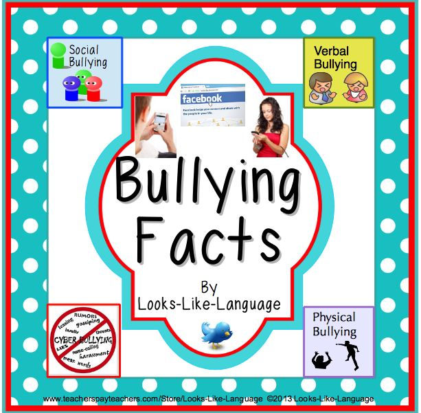 Mini posters that teach and decorate, labels and worksheets for bullying facts. Pictures support learning at Looks-Like-Language! $